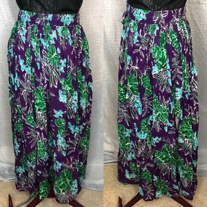 Tropical broom stick skirt purple with leaves sz M